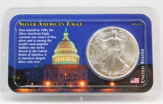 2000 American Silver Eagle - 1 oz ;999 Fine Silver - Certified Uncirculated and Placed in a Sealed Littleton Coin Company Showpack