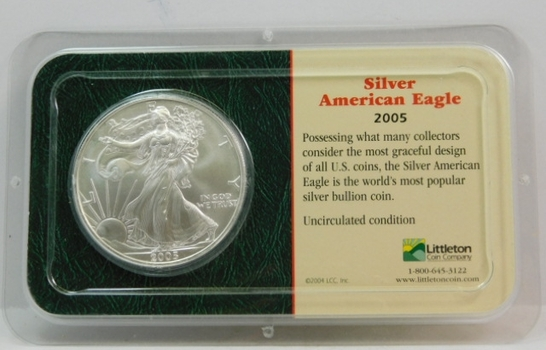 2005 American Silver Eagle - 1 oz ;999 Fine Silver - Certified Uncirculated and Placed in a Sealed Littleton Coin Company Showpack