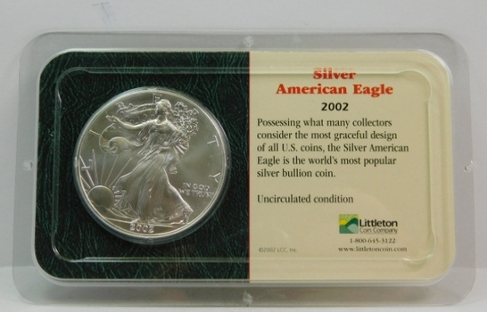 2002 American Silver Eagle - 1 oz ;999 Fine Silver - Certified Uncirculated and Placed in a Sealed Littleton Coin Company Showpack