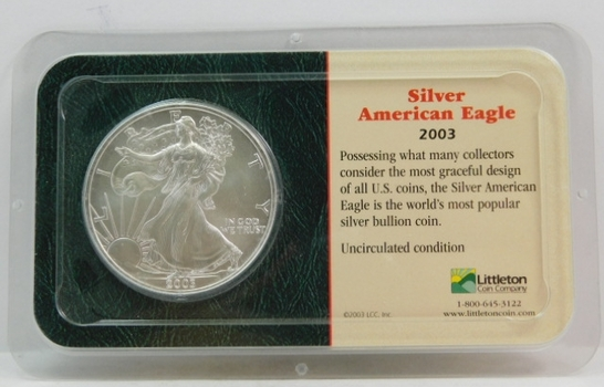 2003 American Silver Eagle - 1 oz ;999 Fine Silver - Certified Uncirculated and Placed in a Sealed Littleton Coin Company Showpack