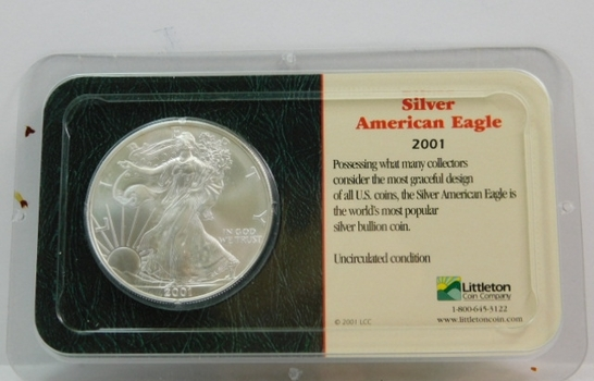 2001 American Silver Eagle - 1 oz ;999 Fine Silver - Certified Uncirculated and Placed in a Sealed Littleton Coin Company Showpack