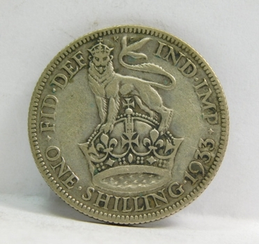 """1933 Great Britain Silver """"1 Shilling"""" King George V"""