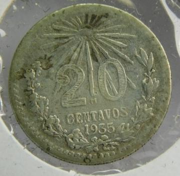 1935 Mexico Silver 20 Centavos