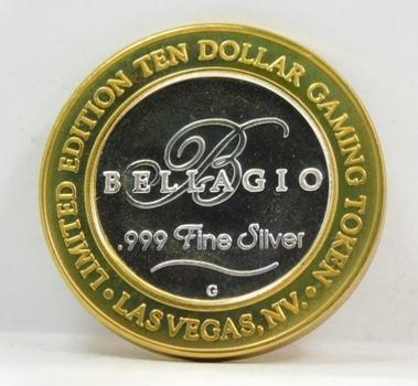 .999 Limited Edition Silver Strike! $10 Dollar Gem Proof Gaming Token-Bellagio Hotel & Casino-Las Vegas, Nevada .999 Fine Silver