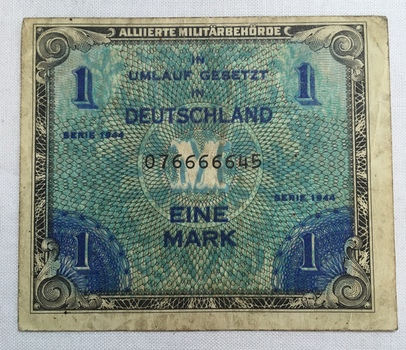 1944 Germany 1 Mark Allied Military Currency