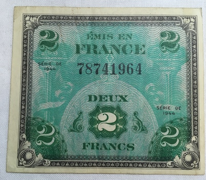 1944 France 2 Francs World War II Allied Military Currency