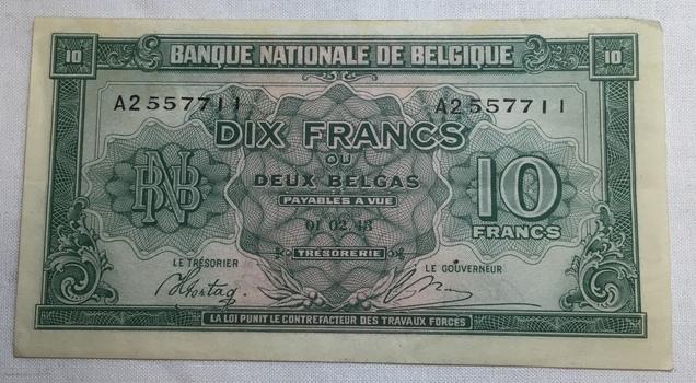 1943 Belgium 10 Francs World War II Era Bank Note - High Grade