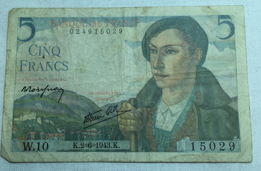 1943 France 5 Francs World War II Era Bank Note