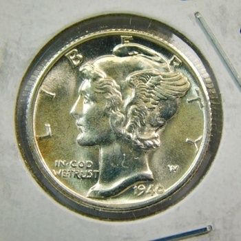 1940-D US Silver Mercury Dime-This Has It All! Brilliant Uncirculated-Partial Central Bands-Die Polish Lines-Hints Of Clashing-Lustrous & Well Struck-So Bright-Your Gonna Need Shades!
