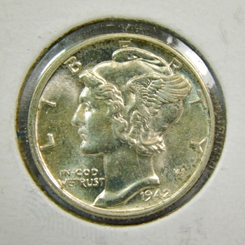 1942-P US Silver Mercury Dime-Lustrous & Well Struck-Brilliant Uncirculated War Time Issue!