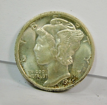 LAST YEAR OF ISSUE!! 1945 US Silver Mercury Dime-High Grade-Lustrous END OF WAR Time Issue!