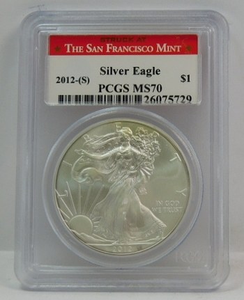 2012-S American Silver Eagle - Graded MS70 by PCGS - San Francisco Minted