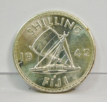 1942-S Silver FIJI Shilling-Brilliant Uncirculated High Grade Coin! Private Collection Built In 1950! Gorgeous