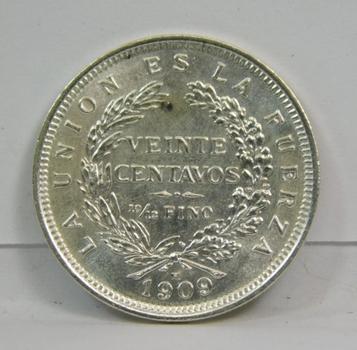 1909-H SILVER Republic Of Bolivia-High Grade Uncirculated Viente Centavos Coin! Scarce This Nice!