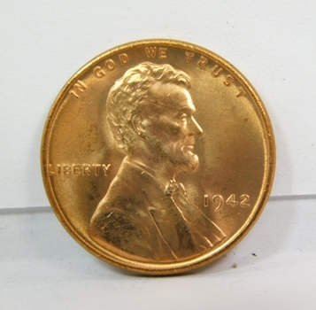 1942-P Red Lincoln Cent-Full Red Color