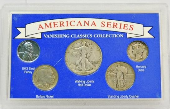 Americana Silver Series-Walking Liberty Half-Standing Liberty Quarter-Mercury Dime (all silver) Buffalo Nickel & Steel Cent From 1943! Custom Hard Plastic Display Case!