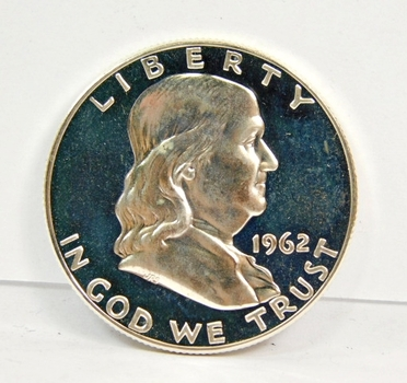 1962 US SILVER Franklin Half Dollar-Gem Proof With Slight Cameo & Gorgeous Surfaces! This IS Nice-