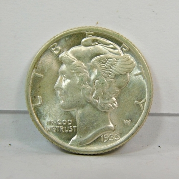 1935-P US Silver Mercury Dime-Brilliant Uncirculated With FULL Central Bands-Lustrous & Well Struck Depression Era Dime