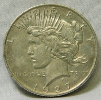 SCARCE DATE!! - 1927-D Peace Silver Dollar - Denver Minted - Good Detail