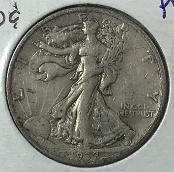 Scarce Date 1933-S Walking Liberty Silver Half Dollar - San Francisco Minted