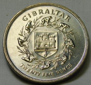 1977 Gibraltar 25 Pence - Queen Elizabeth's Silver Jubilee - High Grade Brilliant Uncircluated