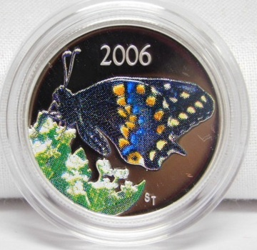 2006 Canada Colorized Short-tailed Swallowtail Butterfly Silver Half Dollar - High Grade Proof Condition - Sealed in Original Mint Packaging