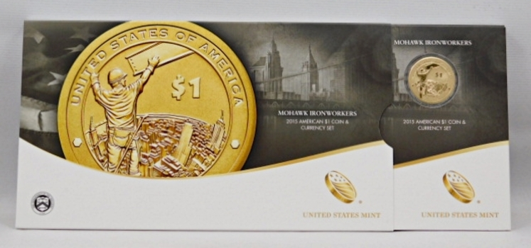 2015 Mohawk Ironworkers Enhanced Uncirculated $1 Coin and Currency Set in Original Mint Packaging from the West Point Mint