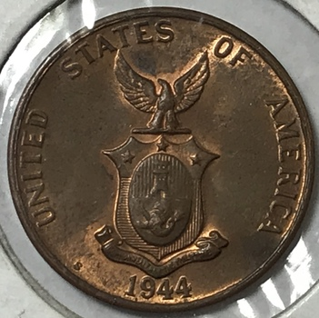 1944-S Philippines Centavo - U.S. Administration - San Francisco Minted