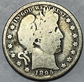 1895 Silver Barber Half Dollar - Scarce Date
