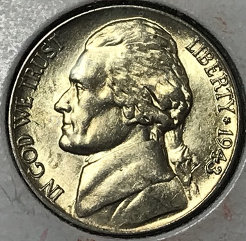 1943P Silver Wartime Jefferson Nickel - High Grade