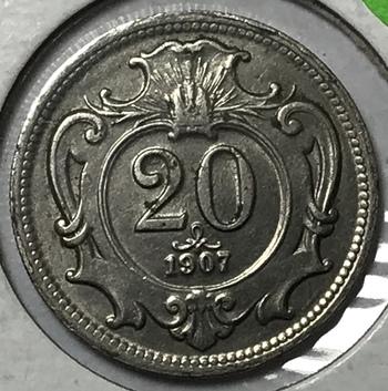 1907 Austria 20 Heller - High Grade