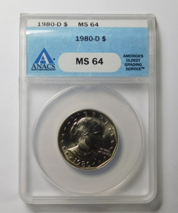HIGH GRADE!! - 1980-D Susan B. Anthony Dollar - Graded MS64 by ANACS