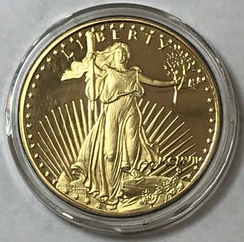 24K Gold Plated 1 oz .999 Fine Silver - 1907 St. Gaudens $20 Gold Replica - Proof Quality w/Beautiful Original Luster