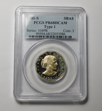 HIGH GRADE!! - 1981-S (Type 1) Proof Susan B. Anthony Commemorative Dollar - Graded PR68 DCAM by PCGS