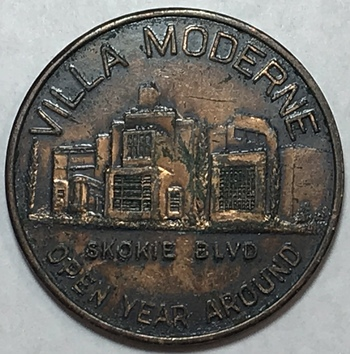 1940's Highland Park, IL Art Deco Villa Moderne Night Club Half Dollar Trade Token