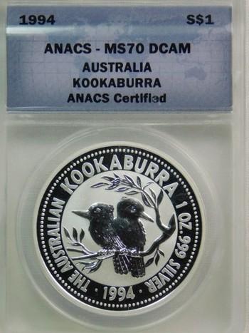1994 Silver $1 Australia Kookaburra - Graded MS70 DCAM by ANACS