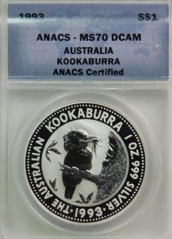 1993 Silver $1 Australia Kookaburra - Graded MS70 DCAM by ANACS - 1 Ox  .999 Fine Silver