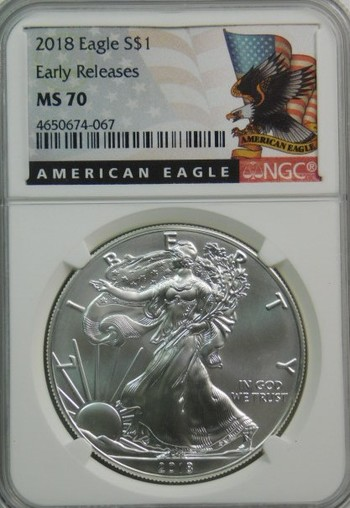 2018 American Silver Eagle - Early Releases Coin - Graded MS70 by NGC - Pure White