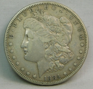 1884-S Morgan Silver Dollar - Struck at the San Francisco Mint - LIBERTY Fully Visible