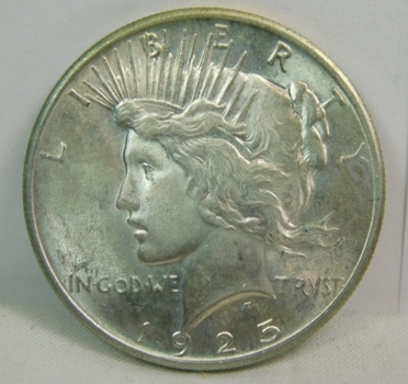 1925 Gem Brilliant Uncirculated Peace Silver Dollar - Excellent Detail and Luster