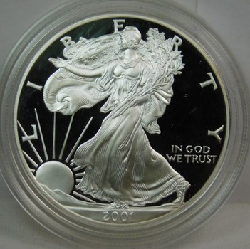 2001 Proof American Silver Eagle - Beautiful Detail and DCAM - In Protective Capsule