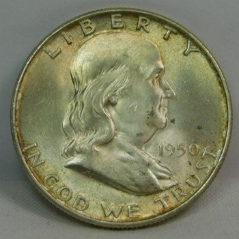 1950-D Silver Franklin Half Dollar - Excellent Detail and Luster - High Grade Coin
