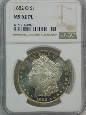 1882-O Morgan Silver Dollar - Graded MS62 PL (Proof Like) by NGC - Struck in New Orleans