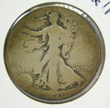 1921-S Silver Walking Liberty Half Dollar - Well Outlined with Clear Date and Mint Mark - Struck in San Francisco