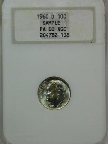 1960-D Silver Roosevelt Dime - Graded Sample by NGC - Struck in Denver
