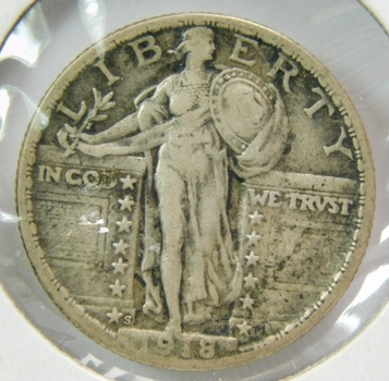 1918-S Silver Standing Liberty Quarter - Well Outlined with Clear Date and Mint Mark - Struck in San Francisco
