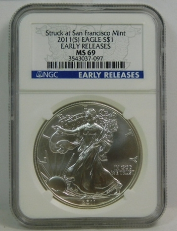 2011-S American Silver Eagle - Early Releases Coin - Graded MS69 by NGC - Struck at San Francisco - Pure White