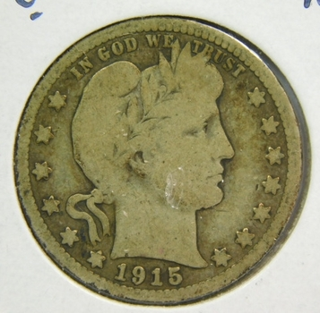 1915 Silver Barber Quarter - Very Well Outlined with Clear Date - Struck in Philadelphia