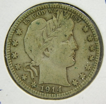 1914-D Silver Barber Quarter - Nice Detail with LIBERTY Fully Visible - Struck in Denver - Higher Grade Coin