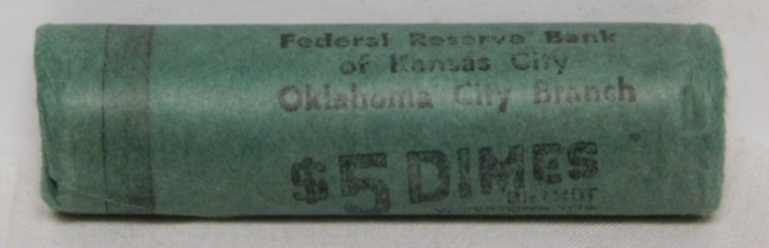 Original Uncirculated Bank Roll 1960-D Silver Roosevelt Dimes from the Federal Reserve Bank of Kansas City - Oklahoma City Branch